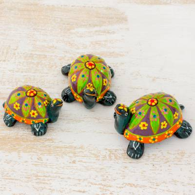 Ceramic figurines, Green Tropical Turtles (set of 3)