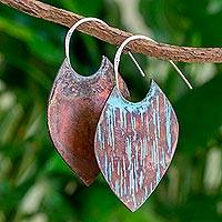 Copper half-hoop earrings, 'Cacaopera Leaves' - Oxidized Copper Leaf-Shaped Half Hoop Earrings