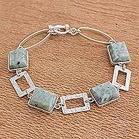 Jade link bracelet, 'Fascinating Geometry' - 925 Sterling Silver Bracelet Geometric Design with Jade