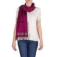 Cotton scarf, 'Kingdom of Bougainvillea' - Guatemalan Handwoven Cotton Scarf in Fuchsia and Mahogany