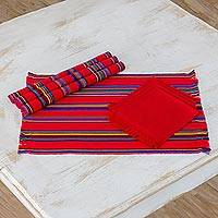 Cotton placemats and napkins, 'Poppy Path' (set of 4) - Set of 4 Placemats and Napkins in Poppy from Guatemala