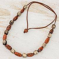 Batik ceramic beaded necklace, 'Clay Beauty' - Ceramic and Leather Adjustable Beaded Necklace from Honduras