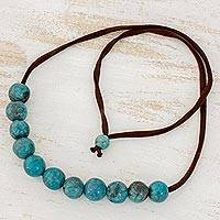 Batik ceramic beaded bracelet, 'Ocean Harmony' - Blue Ceramic Adjustable Beaded Necklace from Honduras