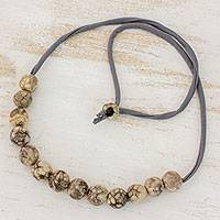 Batik ceramic beaded necklace, 'Beige Earth' - Handcrafted Ceramic Adjustable Beaded Necklace from Honduras