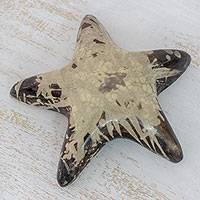 Batik ceramic sculpture, 'Lenca Starfish' - Handcrafted Batik Ceramic Starfish Sculpture from Honduras