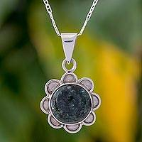 Jade pendant necklace, 'Solar Flower in Dark Green' - Green Jade and 925 Silver Floral Necklace from Guatemala