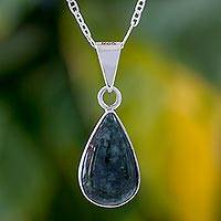 Jade pendant necklace, 'Falling Drop' - Green Jade Teardrop Pendant Necklace from Guatemala
