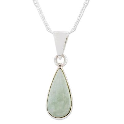 Jade pendant necklace, 'Pale Green Tear' - Light Green Teardrop Jade Pendant Necklace from Guatemala