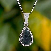 Jade pendant necklace, 'Teardrop Lasso' - Dark Green Teardrop Jade Pendant Necklace from Guatemala