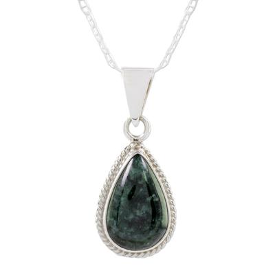 Dark Green Teardrop Jade Pendant Necklace from Guatemala