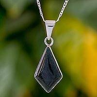 Jade pendant necklace, 'Jungle Pyramid' - Diamond Shaped Jade Pendant Necklace from Guatemala