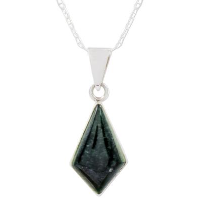 Jade pendant necklace, 'Jungle Pyramid' - Diamond Shaped Jade Pendant Necklace from Guatemala