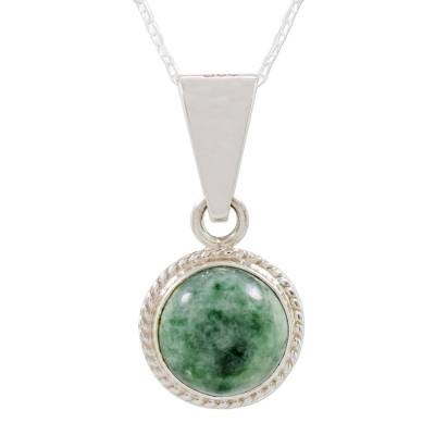 Jade pendant necklace, 'Mixco Moon' - Round Jade and 925 Silver Pendant Necklace from Guatemala