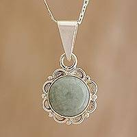 Jade pendant necklace, 'Light Green Forest Princess' - Jade and Sterling Silver Pendant Necklace from Guatemala