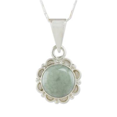 Jade pendant necklace, 'Dark Forest Princess' - Jade and Sterling Silver Pendant Necklace from Guatemala