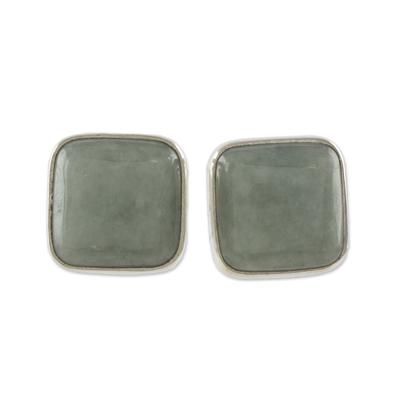 Jade stud earrings, 'Apple Green Symmetry' - Natural Apple Green Maya Jade and Silver 925 Stud Earrings