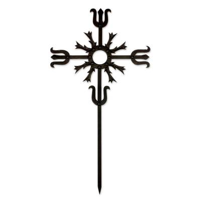 Artisan Crafted Iron Wall Cross in Black from Guatemala