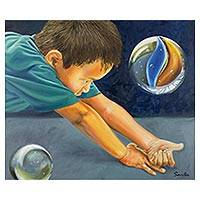'Playing Marbles' (2016) - Original Signed Oil Portrait of a Boy Playing Marbles
