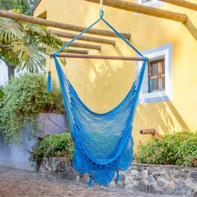 Cotton hammock swing chair, 'Above the Sea' - Single Cotton Hammock Swing in Cerulean from Nicaragua