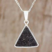 Sterling silver pendant necklace, 'Country Volcano' - Sterling Silver and Volcanic Ash Necklace from Guatemala