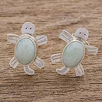 Jade button earrings, 'Apple Green Marine Turtles' - Handcrafted Sterling Silver Sea Turtle Jade Earrings