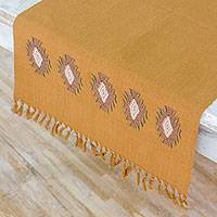 Cotton table runner, 'Among the Branches' - Handwoven Embroidered Cotton Table Runner in Ginger