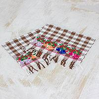 Cotton napkins, 'Belén Bells in Coffee' (pair) - Pair of Handwoven Cotton Napkins in Coffee from Guatemala