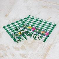 Cotton napkins, 'Country Picnic' (pair) - Two Handwoven Cotton Napkins in Emerald from Guatemala