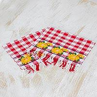 Cotton napkins, 'Country Sunflowers' (pair) - Two Handwoven Cotton Napkins in Crimson from Guatemala