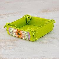 Cotton serving basket, 'Verdant Season' - Cotton Serving Basket in Chartreuse from Guatemala