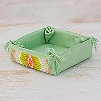 Cotton serving basket, 'Pastel Celadon' - Handcrafted Cotton Serving Basket in Celadon from Guatemala