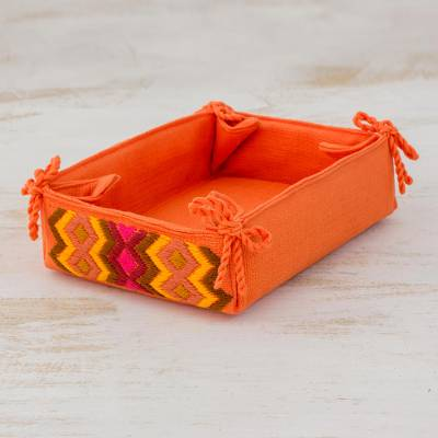 Cotton serving basket, 'Persimmon Morning' - Cotton Serving Basket in Persimmon from Guatemala