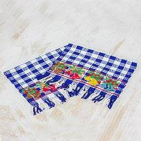 Cotton napkins, 'Belén Bells in Lapis' (pair) - Pair Handwoven Cotton Napkins in Lapis from Guatemala