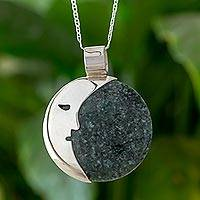 Jade pendant necklace, 'Face of the Moon in Dark Green' - Guatemalan Jade Crescent Moon Pendant Necklace