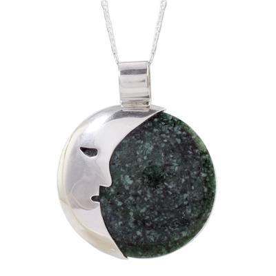Jade pendant necklace, 'Face of the Moon in Dark Green' - Guatemalan Jade Crescent Moon Pendant Necklace