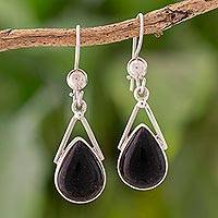 Jade dangle earrings, 'Drops of Peace in Black' - Black Jade and 925 Silver Teardrop Earrings from Guatemala