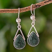 Jade dangle earrings, 'Drops of Peace' - Green Jade and Sterling Silver Teardrop Earrings from Mexico