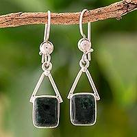 Jade dangle earrings, 'Mayan Peaks in Dark Green' - Dark Green Jade Dangle Earrings from Mexico