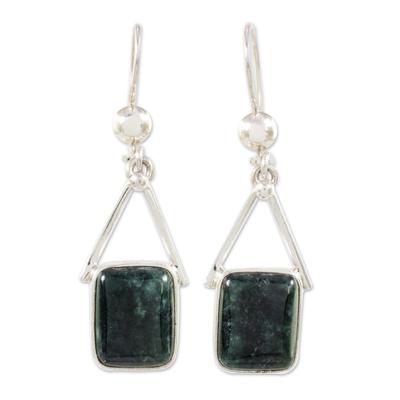 Dark Green Jade Dangle Earrings from Mexico