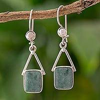 Jade dangle earrings, 'Mayan Peaks' - Light Green Jade Dangle Earrings from Mexico