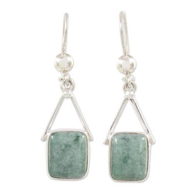 Light Green Jade Dangle Earrings from Mexico