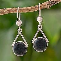 Jade dangle earrings, 'Circle of Peace' - Dark Green Jade Circular Dangle Earrings from Mexico