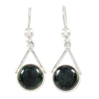 Dark Green Jade Circular Dangle Earrings from Mexico