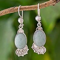 Jade dangle earrings, 'Siren Song in Light Green' - Light Green Jade Oval Dangle Earrings from Guatemala