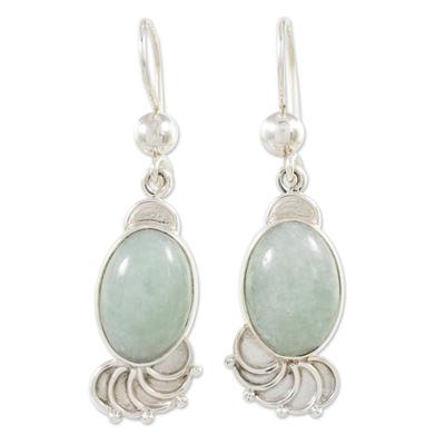 Light Green Jade Oval Dangle Earrings from Guatemala