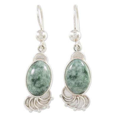 Jade Sterling Silver Oval Dangle Earrings from Guatemala