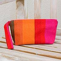 Cotton wristlet, 'Island Colors' - Handwoven Striped Cotton Wristlet from El Salvador