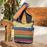 Reversible cotton sling bag, 'Tasajera Island' - Reversible Striped Cotton Sling Handbag from El Salvador