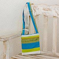 Cotton sling bag, 'Citron Combination' - Handwoven Striped Cotton Sling Handbag from El Salvador