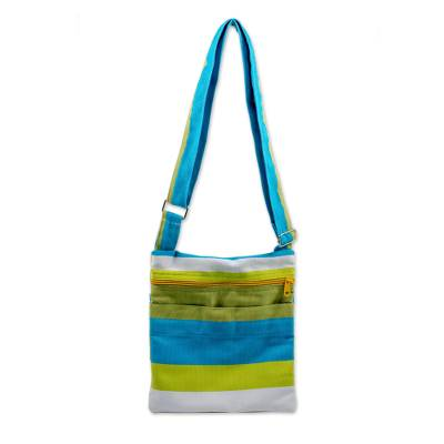 Handwoven Striped Cotton Sling Handbag from El Salvador